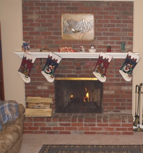 Fireplace before demo.