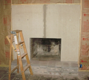 Fireplace ready to be tiled