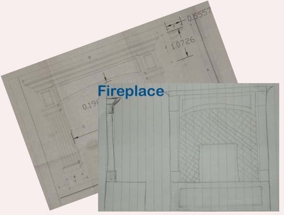 Drawings of the fireplace.