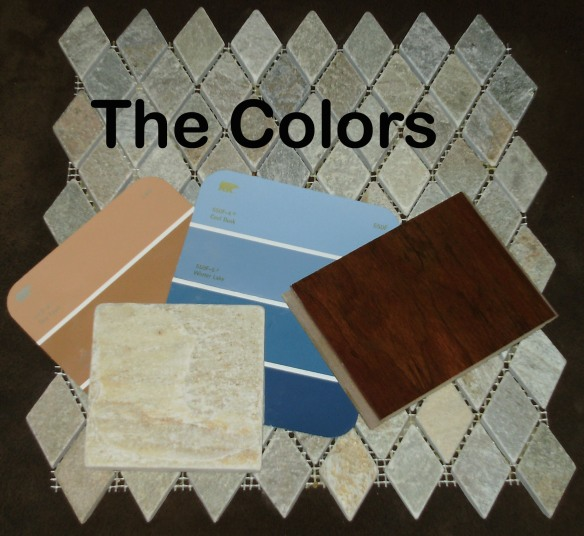 Tile for fireplace, board sample, and colors.